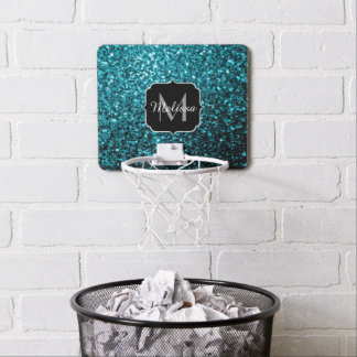 Beautiful Aqua blue glitter sparkles Monogram Mini Basketball Hoop