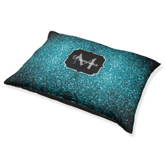 Beautiful Aqua blue glitter sparkles Monogram Pet Bed