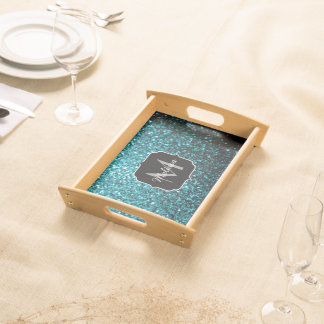 Beautiful Aqua blue glitter sparkles Monogram Serving Tray