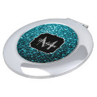 Beautiful Aqua blue glitter sparkles Monogram Travel Mirror