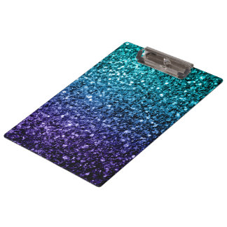Beautiful Aqua blue Ombre glitter sparkles Clipboard