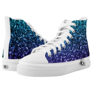 Beautiful Aqua blue Ombre glitter sparkles High Tops