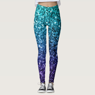Beautiful Aqua blue Ombre glitter sparkles Leggings
