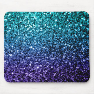 Beautiful Aqua blue Ombre glitter sparkles Mouse Pad