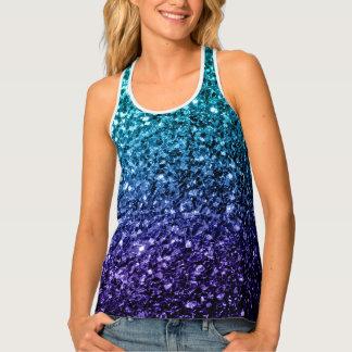 Beautiful Aqua blue Ombre glitter sparkles Tank Top