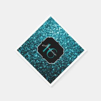 Beautiful Aqua Blue sparkles Sweet 16 napkins Disposable Napkin