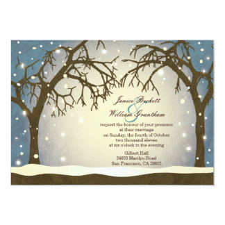 Beautiful Arched Winter Trees Wedding Invitations