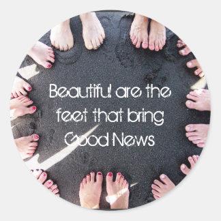 Beautiful are the feet round sticker
