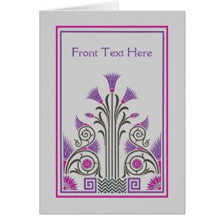 Beautiful art deco border lilac gray purple card