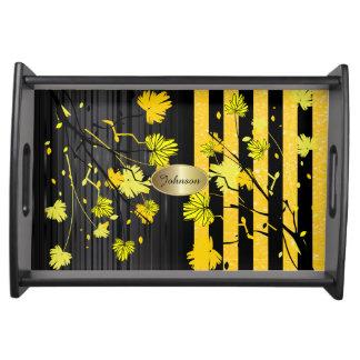 Beautiful Art Deco Yellow & Black Floral  DIY Name Serving Tray