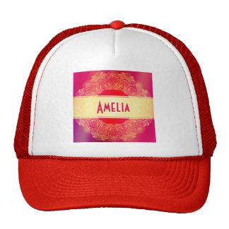 Beautiful,art nouveau,art deco,gold,hot pink trucker hat