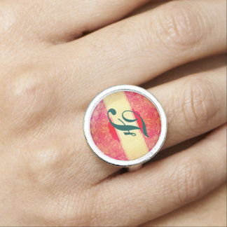 Beautiful,art nouveau,art deco,gold,hot pink photo ring