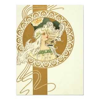 Beautiful Art Nouveau Girl Card