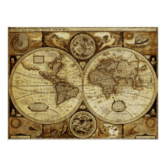 Beautiful art of Vintage and Antique world Map Poster