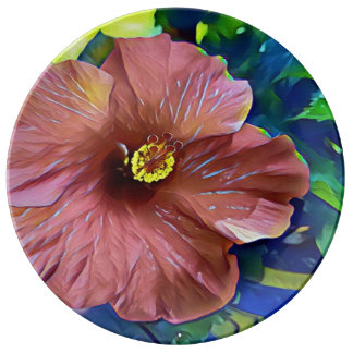 Beautiful Artistic Hibiscus Blossoms Plate