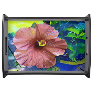 Beautiful Artistic Tropical Flowering Hibiscus Serving Tray