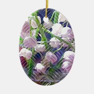 Beautiful Artistically Altered Lily of the Valley Ceramic Oval Ornament