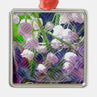 Beautiful Artistically Altered Lily of the Valley Silver-Colored Square Ornament