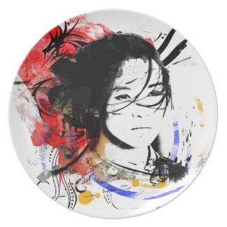 Beautiful Asian Girl Dinner Plates