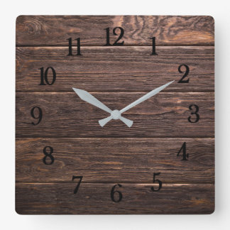 Beautiful authentic looking rustic weathered wood square wall clock