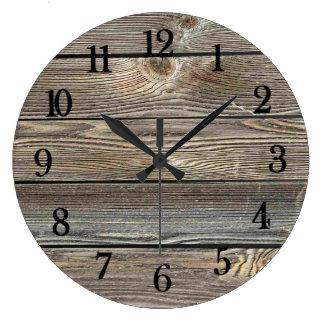 Beautiful authentic looking wood horizontal print clock