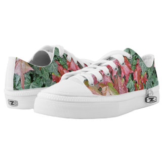 Beautiful autumn fall red green ivy leaves Low-Top sneakers