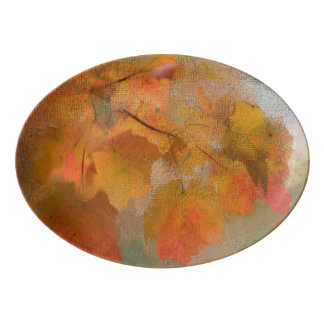 Beautiful Autumn Leaves Thanksgiving Delight Porcelain Serving Platter