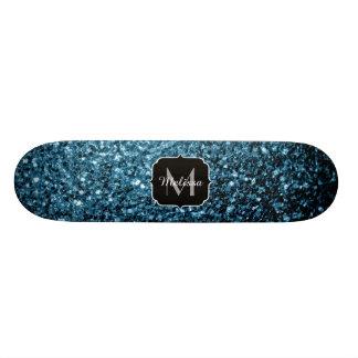 Beautiful Baby blue glitter sparkles Monogram Custom Skateboard