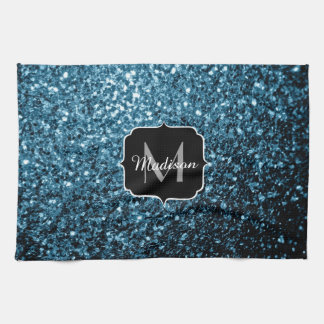 Beautiful Baby blue glitter sparkles Monogram Kitchen Towel