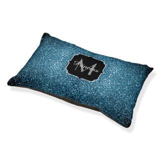 Beautiful Baby blue glitter sparkles Monogram Pet Bed