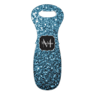 Beautiful Baby blue glitter sparkles Monogram Wine Bag