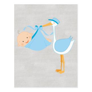 Beautiful Baby Blue Stork, It's a Boy! Postcard