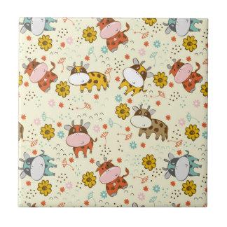 Beautiful Baby Cow Pattern Ceramic Tile