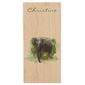 Beautiful Baby Elephant On Wood With Custom Name Wood USB 2.0 Flash Drive