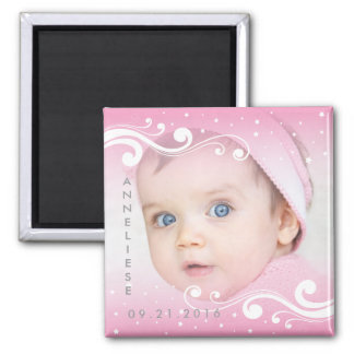 Beautiful Baby Girl Photo with Name and Date Square Magnet