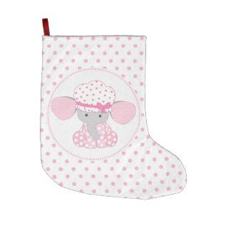 Beautiful Baby Girl Pink Elephant Large Christmas Stocking