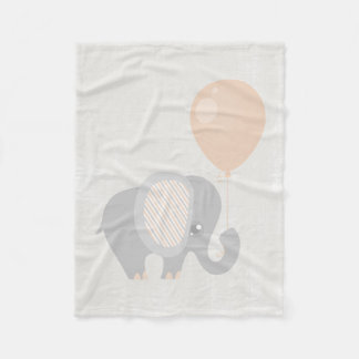 Beautiful Baby Neutral Peach Elephant Fleece Blanket
