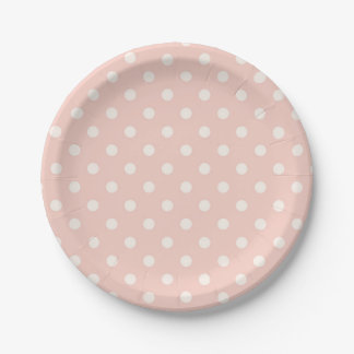Beautiful Baby Peach Polka Dot Pattern Paper Plate