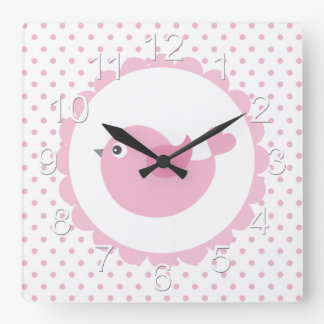 Beautiful Baby Pink Bird Square Wall Clock