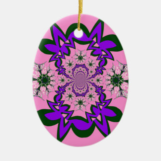Beautiful baby pink floral purple shade motif mono ceramic oval ornament
