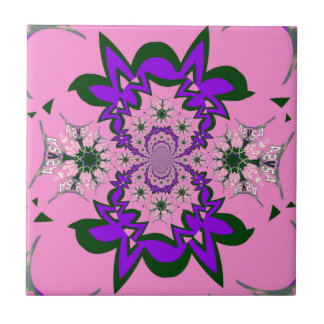 Beautiful baby pink floral purple shade motif mono ceramic tiles