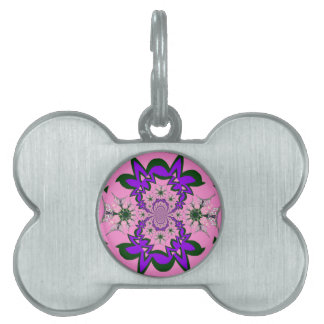 Beautiful baby pink floral purple shade motif mono pet ID tags