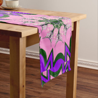 Beautiful baby pink  purple shade motif colors short table runner