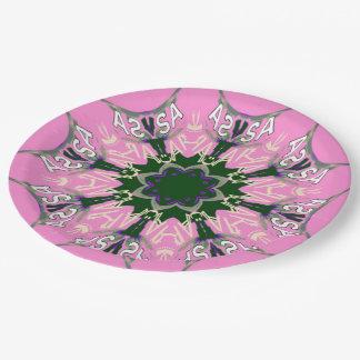 Beautiful baby pink  purple shade motif monogram 9 inch paper plate