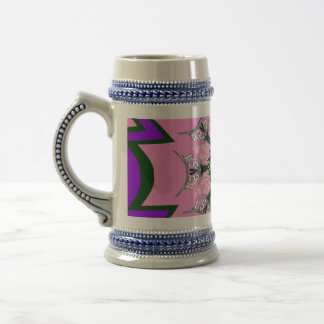 Beautiful baby pink  purple shade motif monogram beer stein