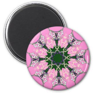 Beautiful baby pink purple shade motif monogram de 2 inch round magnet