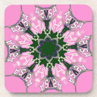 Beautiful baby pink purple shade motif monogram de drink coaster