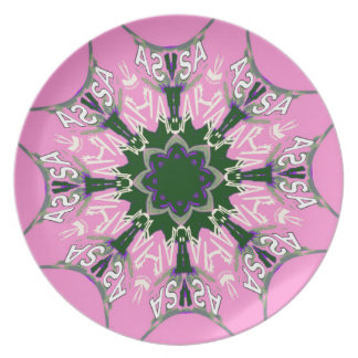 Beautiful baby pink purple shade motif monogram de plate