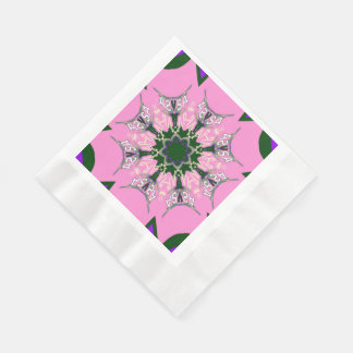 Beautiful baby pink  purple shade motif monogram napkin