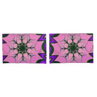 Beautiful baby pink  purple shade motif monogram pillowcase